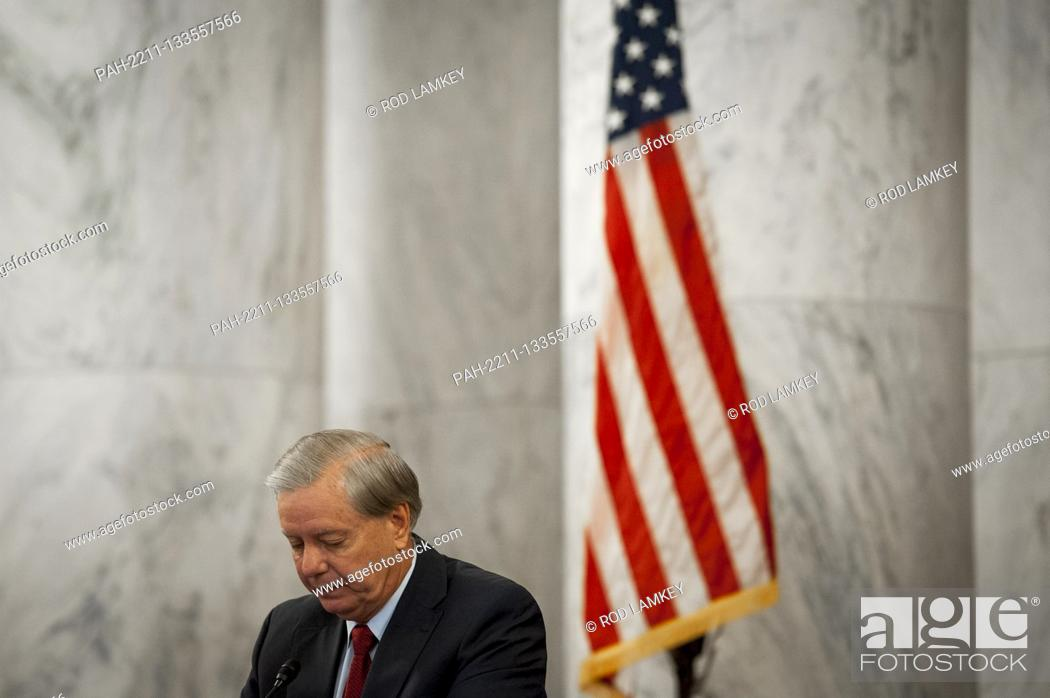 Photo de stock: United States Senator Lindsey Graham (Republican of South Carolina), Chairman, US Senate Judiciary Committee, , listens to remarks during the committee markup.