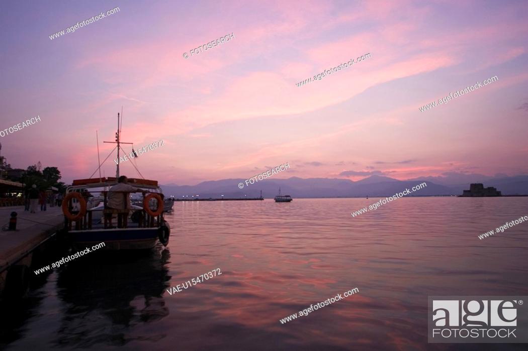 Stock Photo: Boat, Cloud, Dusk, Ferry, Harbor.