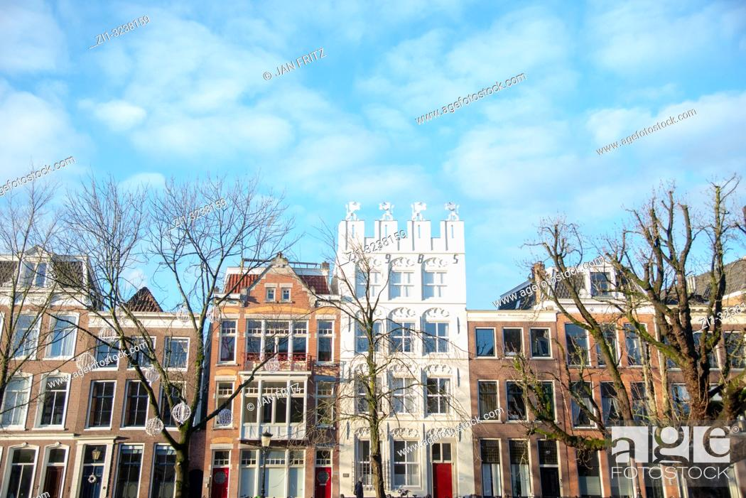 Stock Photo: old houses at Oude Gracht in Utrecht, Holland.