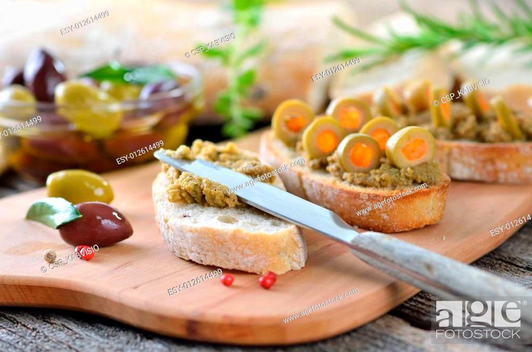 Stock Photo: Olive snack.