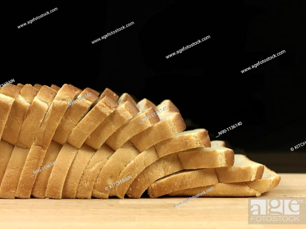 Stock Photo: A loaf of freshly baked white bread.