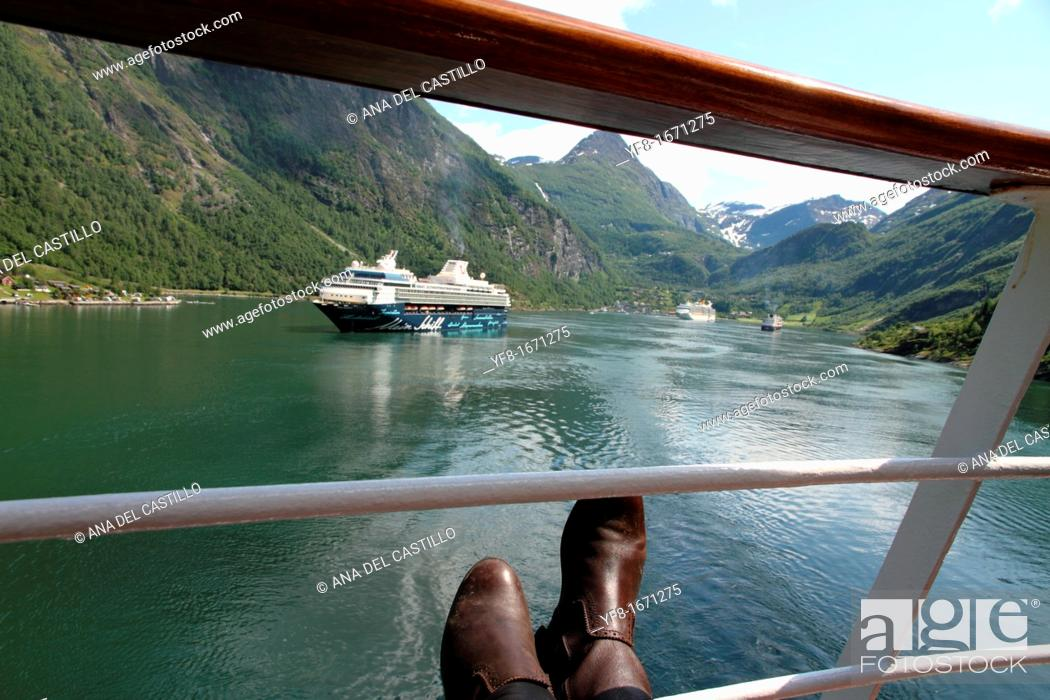 Stock Photo: View from a cruise ship, Geirangerfjord, more og Romsdal, Norway.