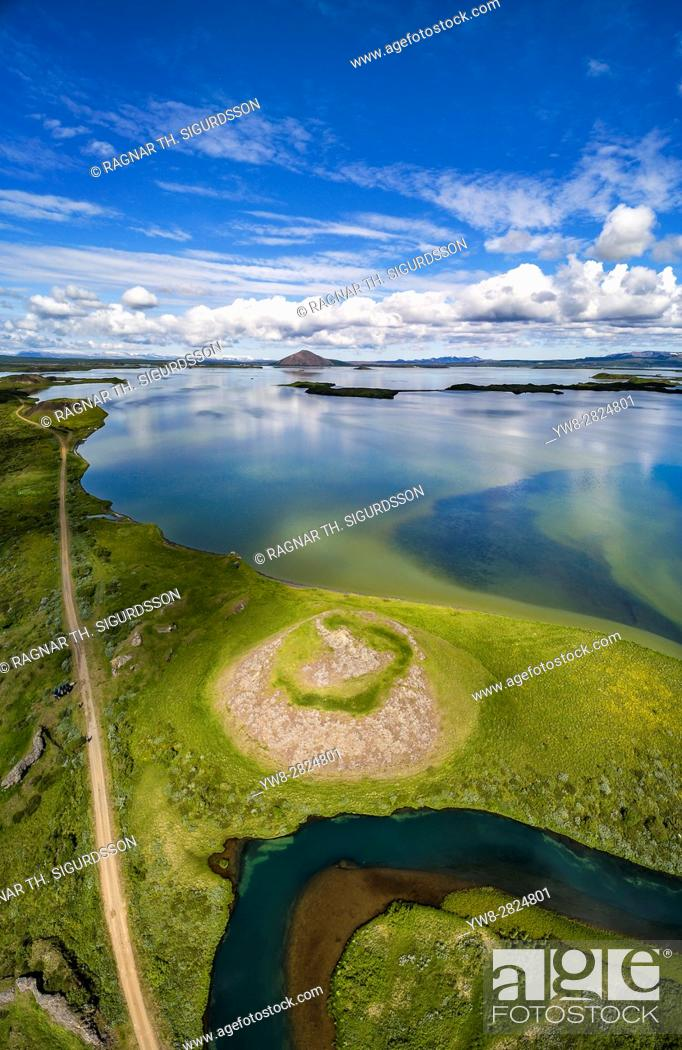 Stock Photo: Aerial view of Skutustadagigar Pseudocrater, Lake Myvatn, Iceland. The craters were formed by steam explosions, when boiling lava flowed over the wetlands.