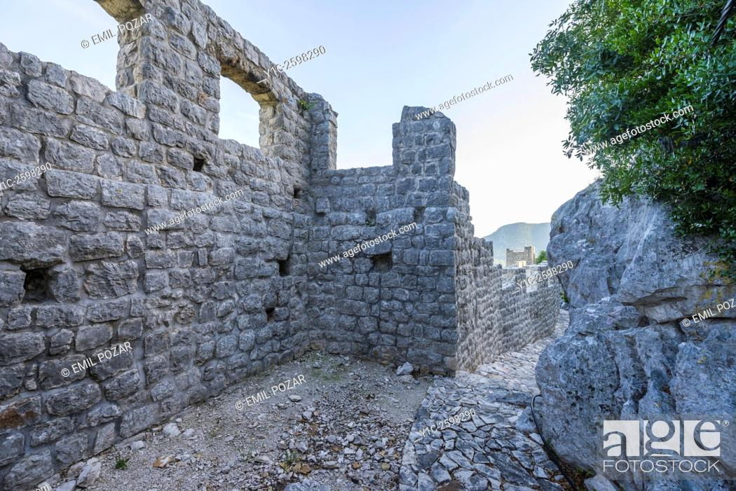 Stock Photo: Ston old town in Dalmatia, Croatia, on top of old fortifications.