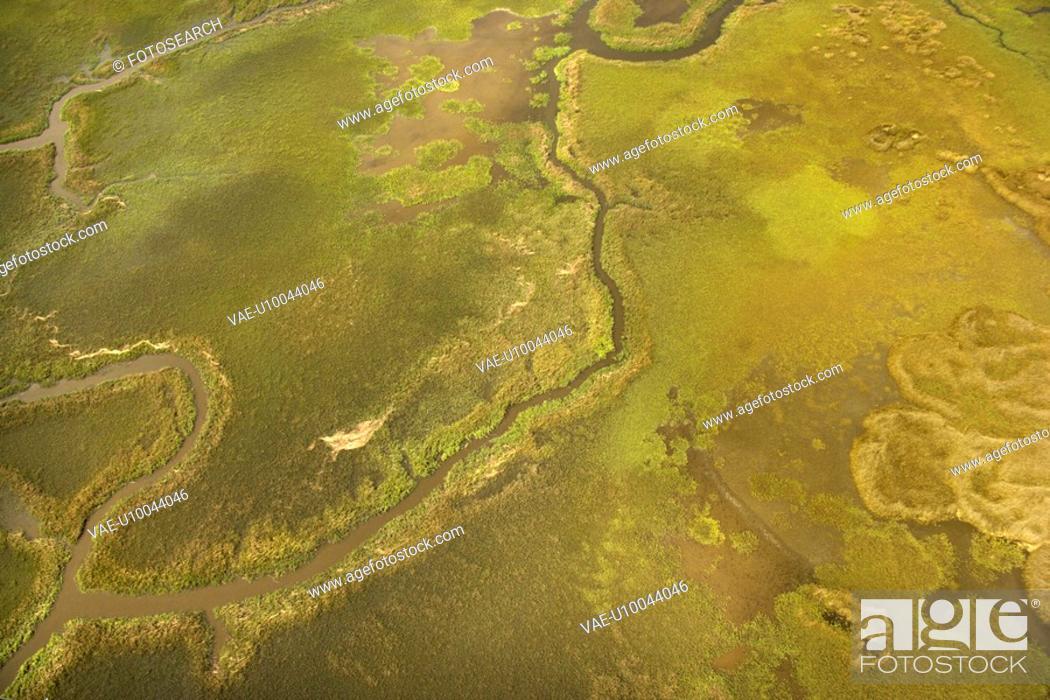Stock Photo: Aerial view of tributary on Bald Head Island, North Carolina.