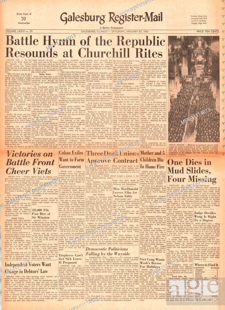 1965 Galesburg Register-Mail (USA) front page reporting the