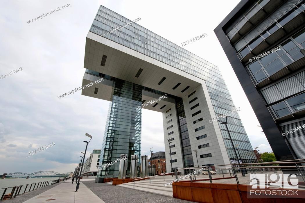 Stock Photo: Kranhaus modern building on Rheinauhafen, Cologne, North Rhine-Westphalia, Germany.