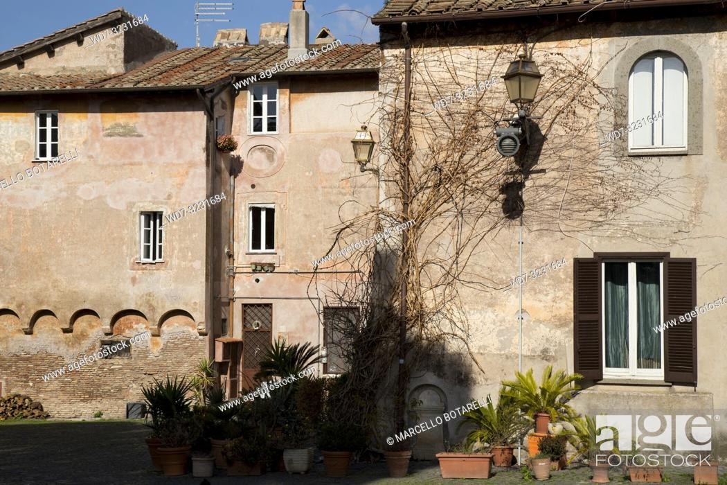 Stock Photo: houses in the village of Ostia Antica, near Rome, Italy.