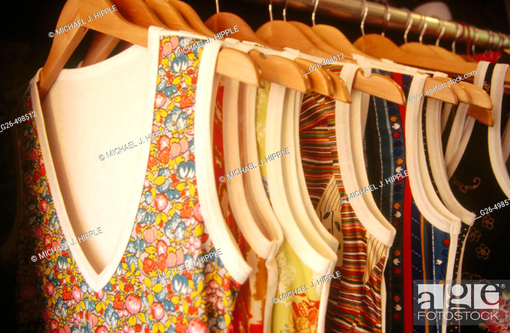 Stock Photo: Rack of clothes in boutique.