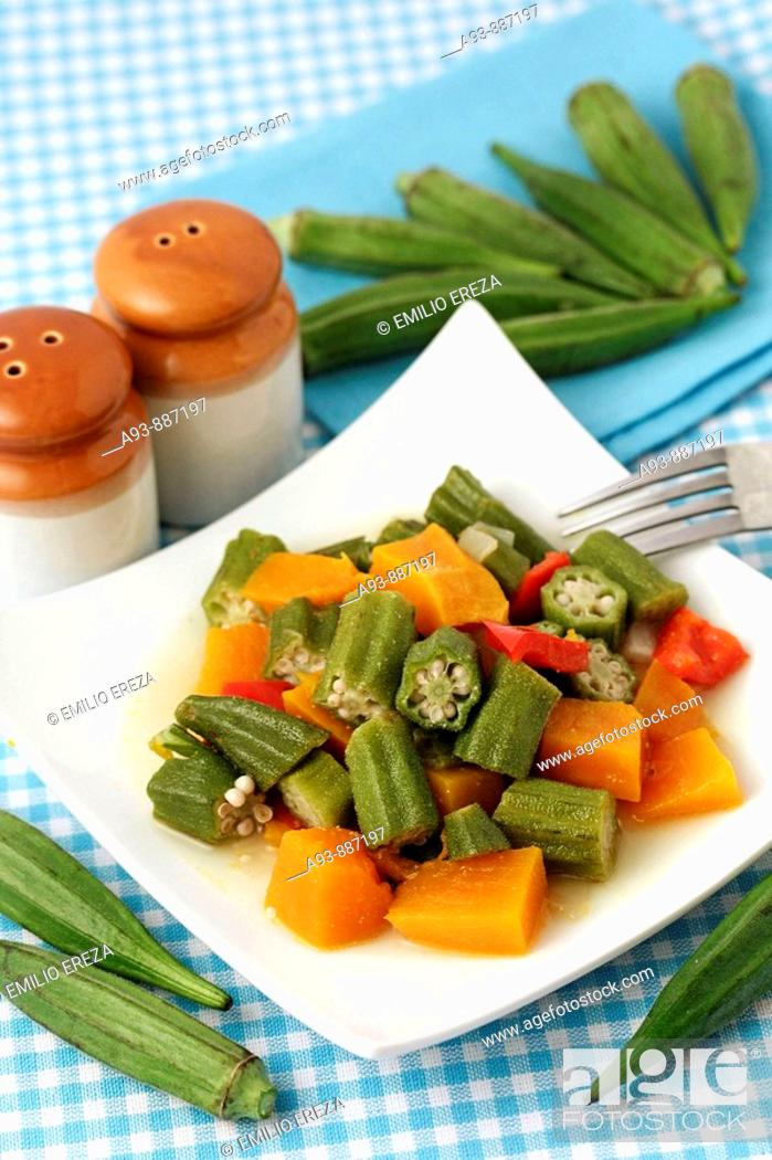 Stock Photo: Okra cooked with pumpkin and pepper. Lady fingers. Hibiscus esculentus or Abelmoschus esculentus.