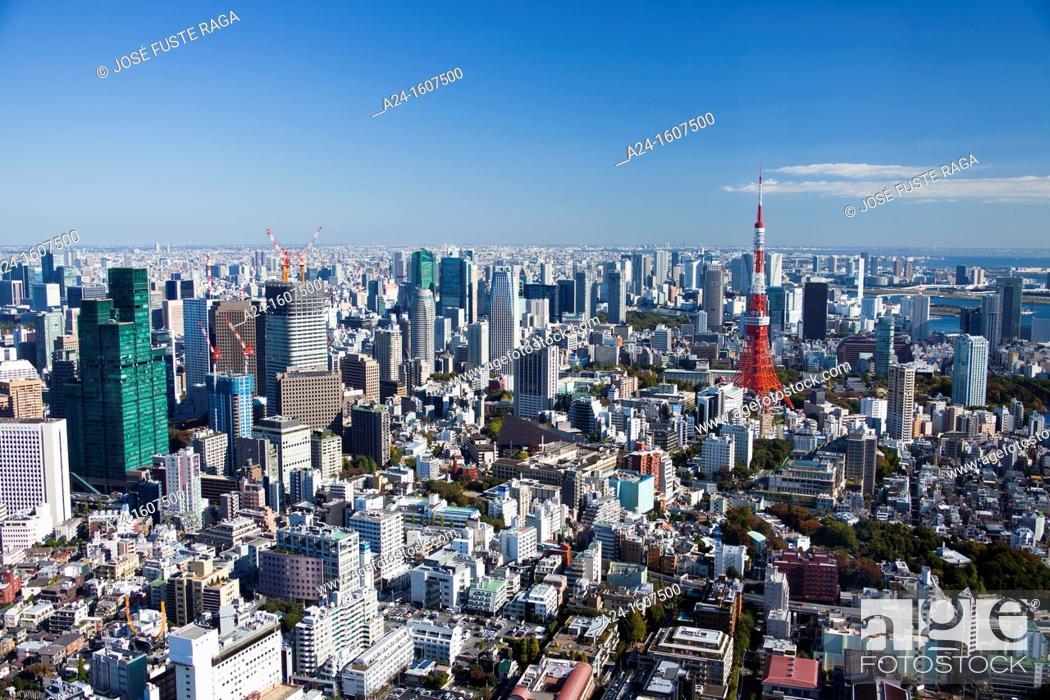 Stock Photo: Japan-Tokyo City-Tokyo Skyline-Tokyo Tower.