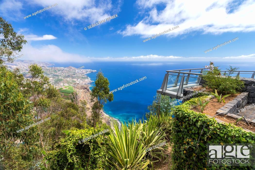 Stock Photo: The panoramic terrace (with glass floor) at the top of Cabo Girao cliff, Câmara de Lobos, Madeira, Portugal.