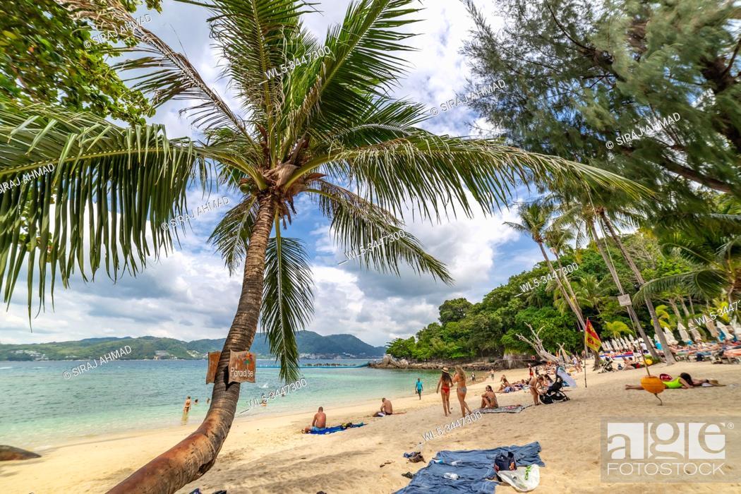 Stock Photo: Phuket, Thailand - November 27 2019: Paradise Beach in Phuket, Thailand. Famous tourist attraction. Tropical Beach. Perfect summer getaway.