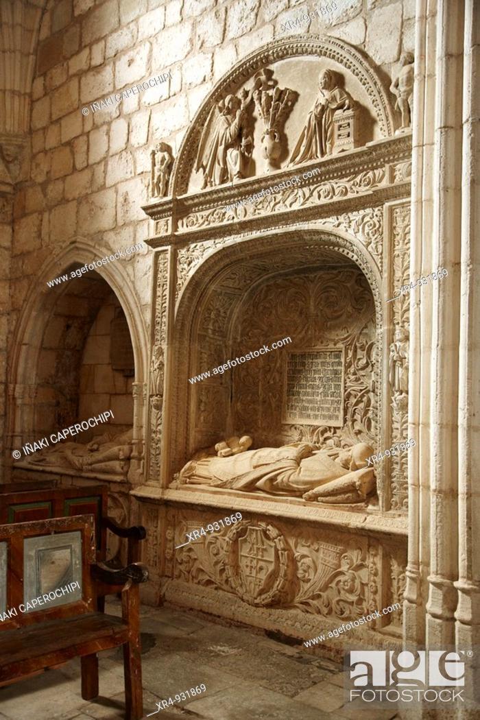 Stock Photo: Sepulchre in the ex-collegiate church of San Cosme and San Damian, Covarrubias, Burgos province, Castilla-Leon, Spain.