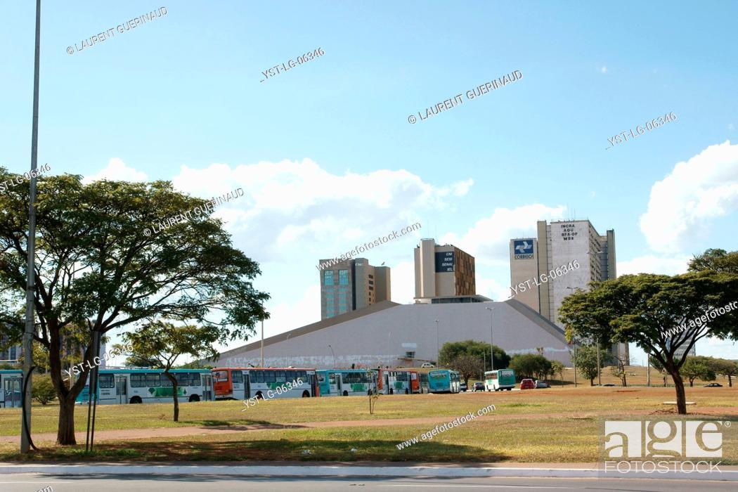 Stock Photo: National theater Cláudio Santoro, Edifícios CNC, CNI, SESI, SENAI, IEL, INCRA, AGU, SFA-DF, MDA, Distrito Federal, Brasília, Brazil.