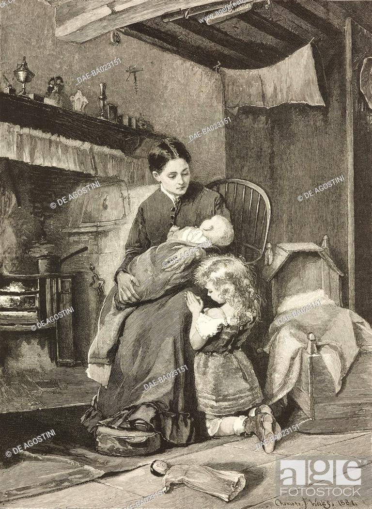 Imagen: Evening, a mother with her baby in front of the fireplace, a child saying prayers, engraving from a painting by Charlotte Weeks.