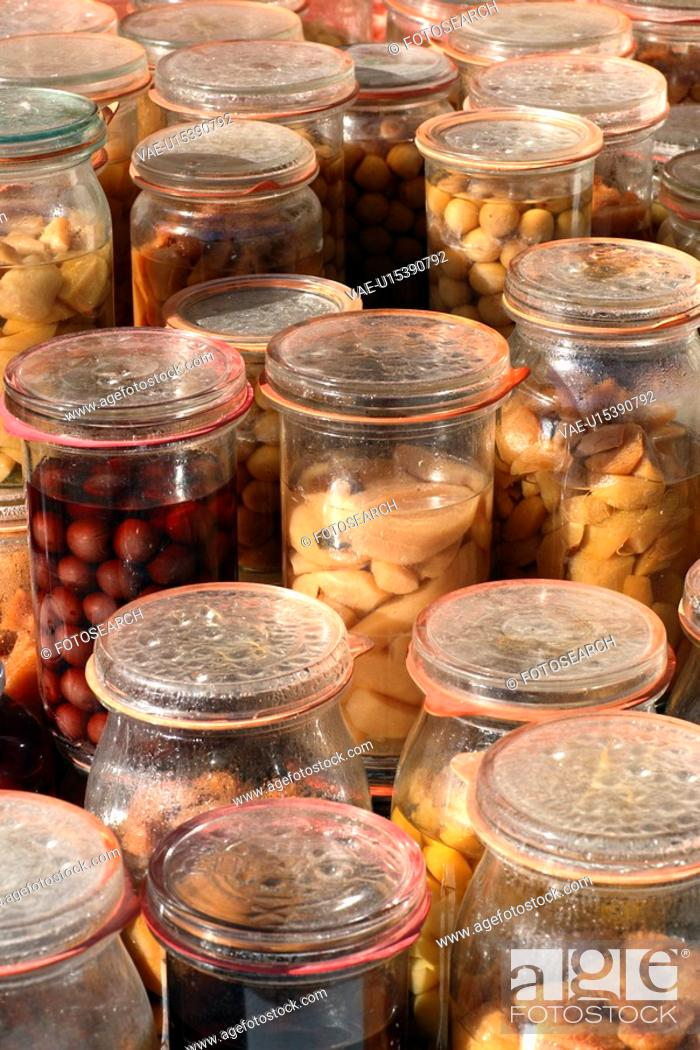 Stock Photo: foresight, at home, conserve, canning jars, canning jar, fruit, aliment.