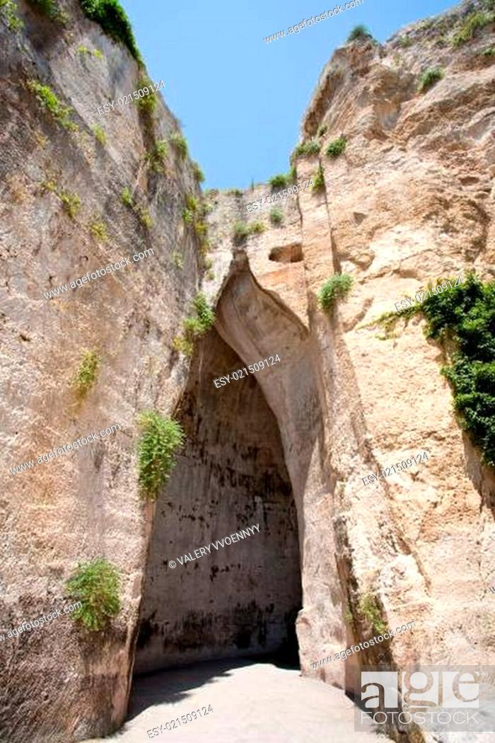 Stock Photo: cave Ear of Dionysius in Syracuse, Italy.