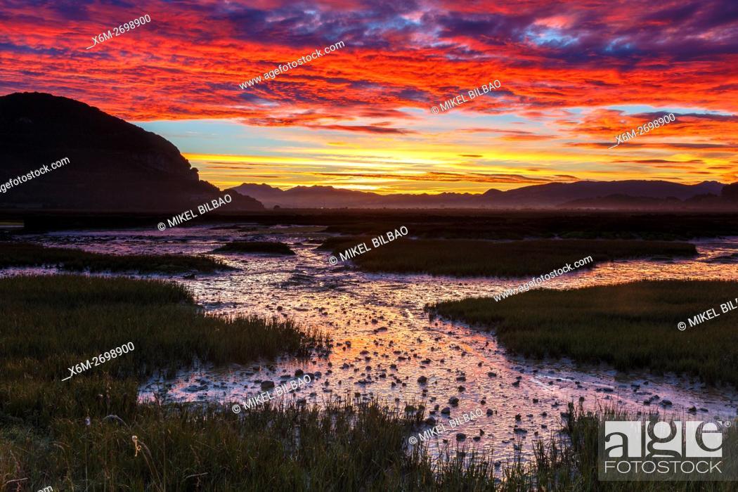 Stock Photo: Daybrake in the marshes. Escalante. Marismas de Santoña, Victoria y Joyel Natural Park. Cantabria, Spain, Europe.