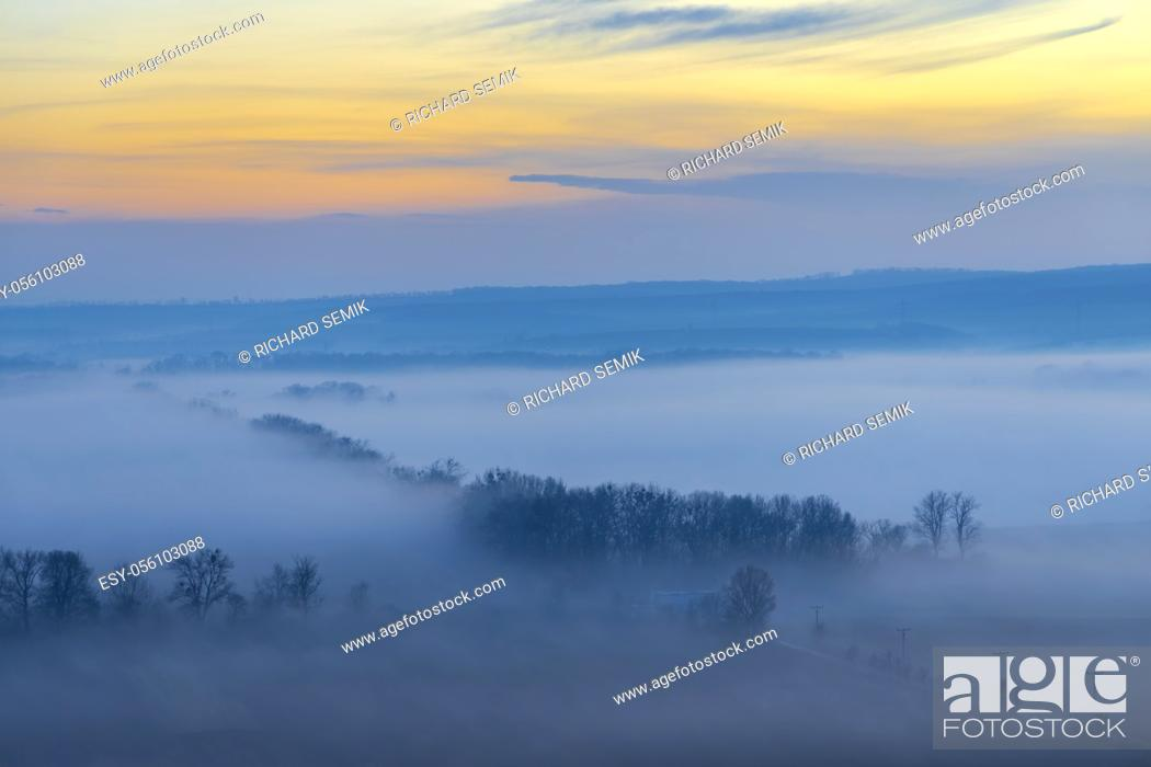 Stock Photo: sunset over Palava, Southern Moravia, Czech Republic.