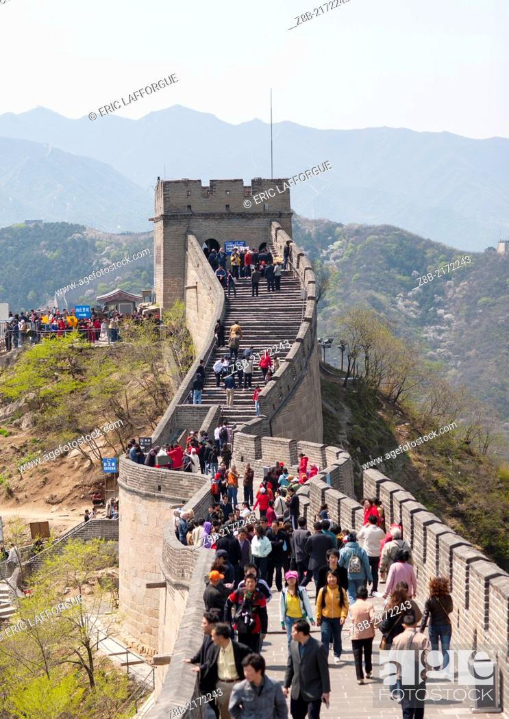 Stock Photo: Crowd On The Great Wall, Beijing, China.