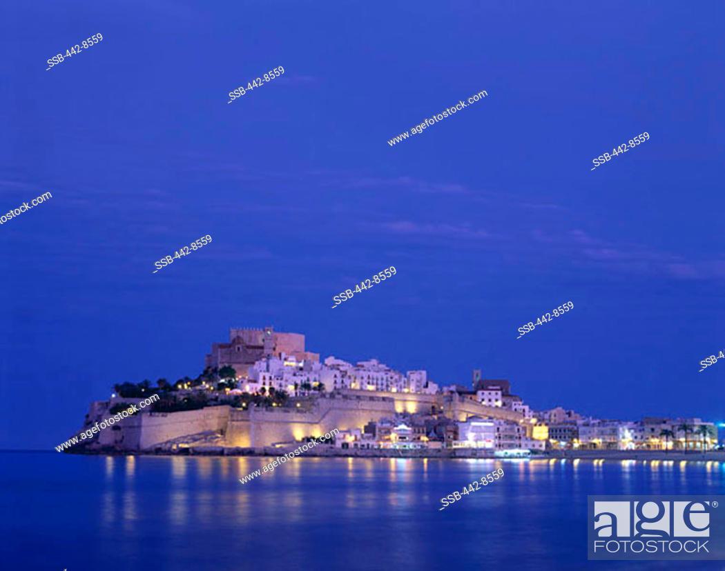 Stock Photo: Night, Old Town, Costa del Azahar, Peniscola, Valencia, Spain.