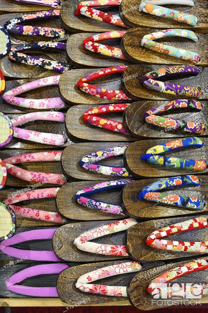 Stock Photo: Traditional slippers for sale in the Asakusa district of Tokyo, Japan, Asia.
