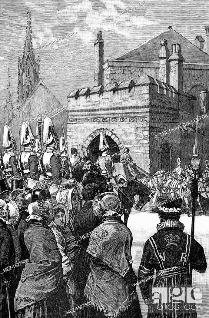 Stock Photo: The Queen opening Parliament, 1846, (1900). Arrival of Queen Victoria's Royal Procession at the House of Lords. Illustration from The life and times of Queen.
