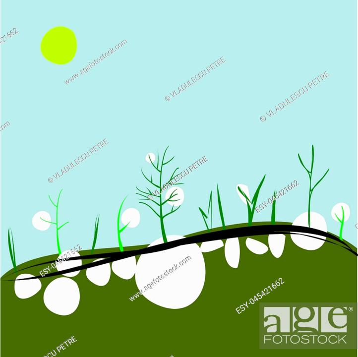 Stock Vector: spring on hills (the buds breaks the snow).