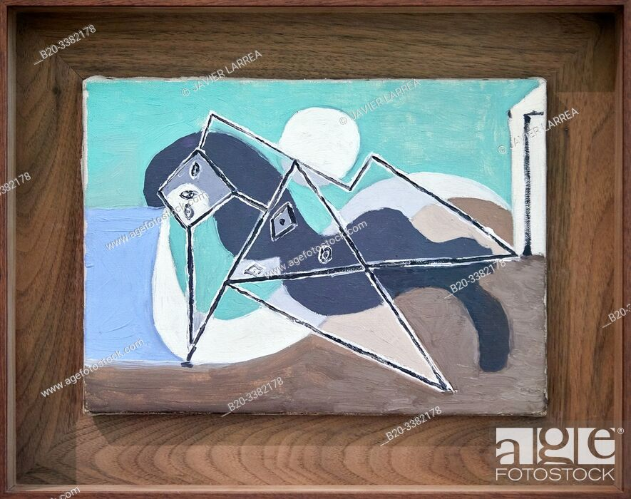 """Stock Photo: """"Female Nude Reclining in the Sun on the Beach"""", 1932, Pablo Picasso, Picasso Museum, Paris, France, Europe."""