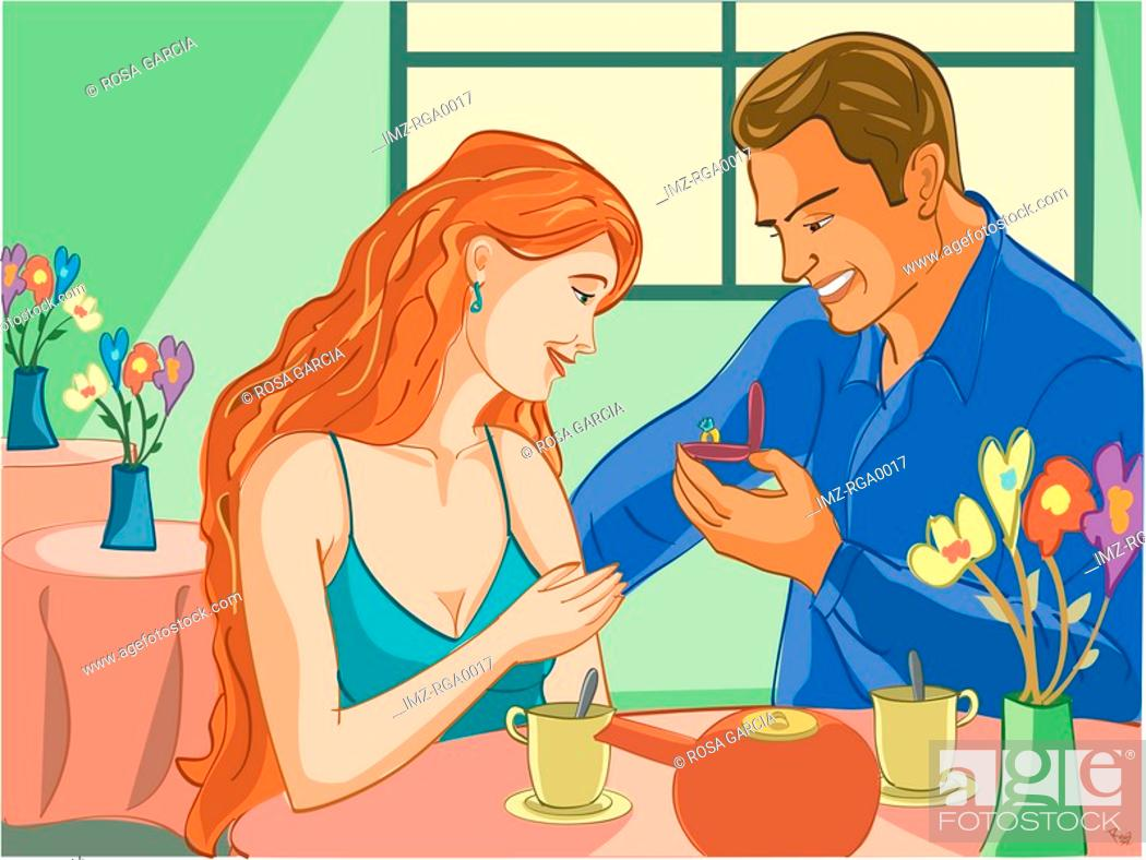 Stock Photo: man proposing to his girlfriend.