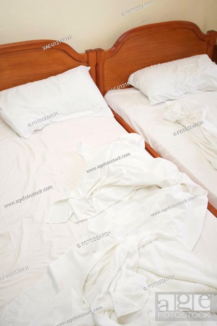 Stock Photo: Bed Linen, Bed Sheet, Bed Spread, Bedding, Bedroom, Clothes.