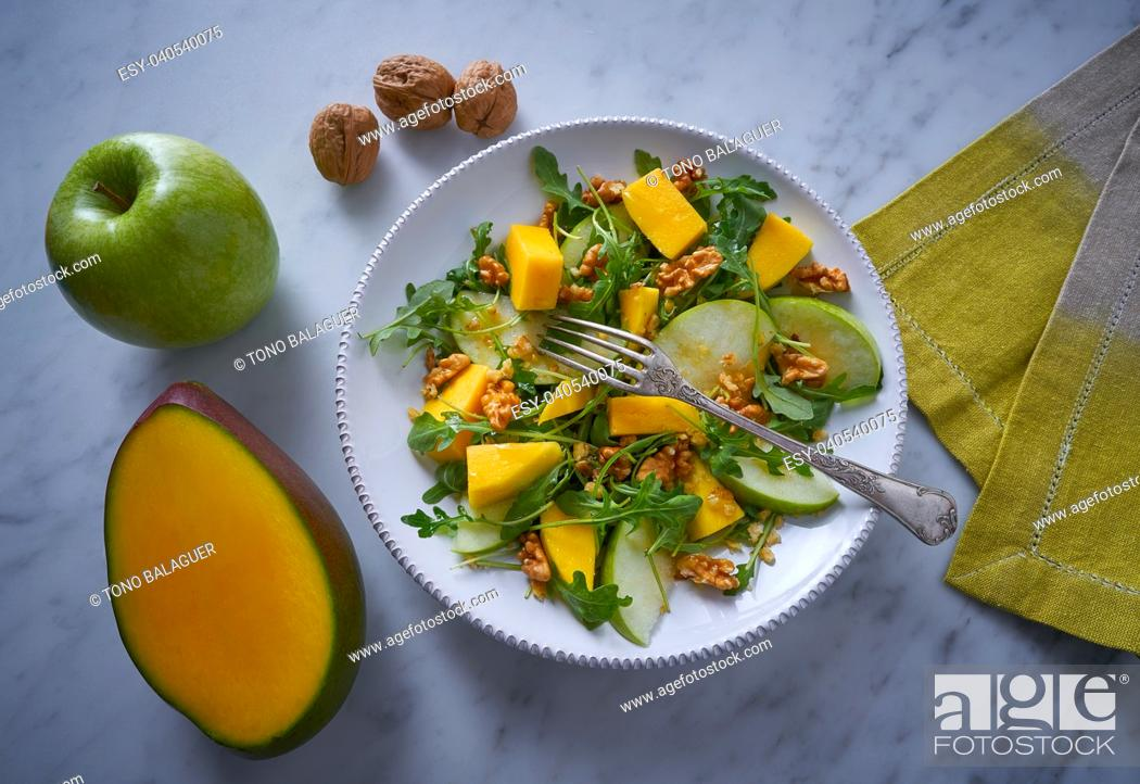 Stock Photo: Arugula mango and apple salad healthy for heart.