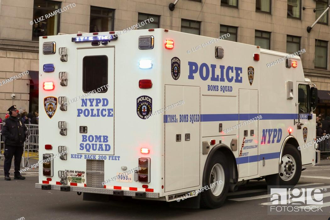 Stock Photo: Central Park West, New York, USA, November 23 2017 - NYPD Security during the 91st Annual Macy's Thanksgiving Day Parade today in New York City.