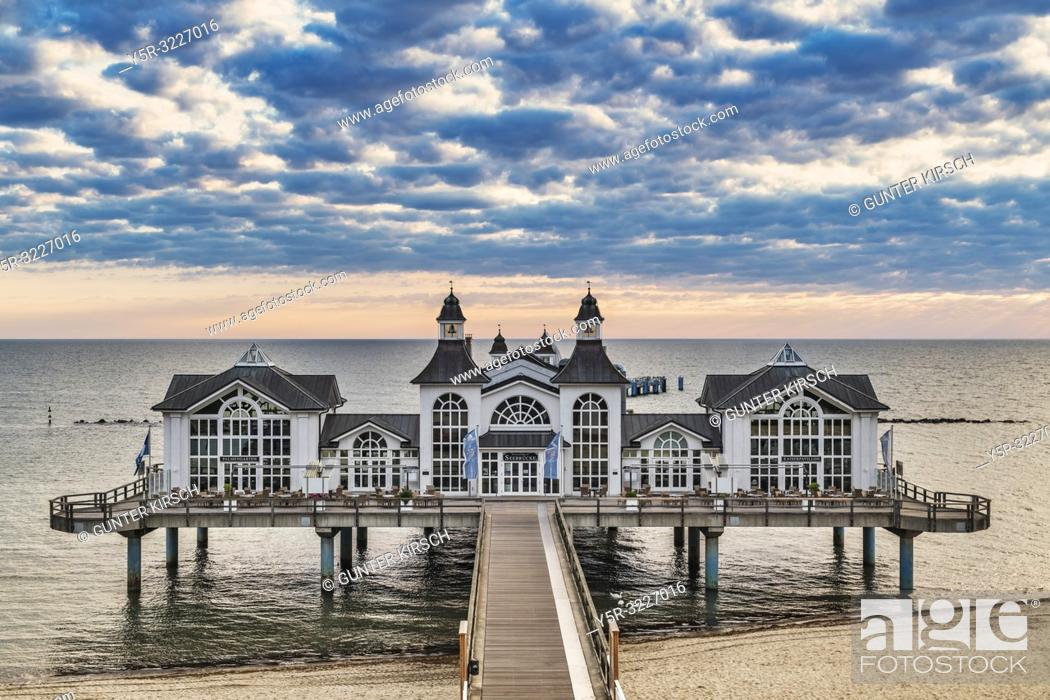 Stock Photo: The Sellin Pier is a pier at the Baltic Sea. The pier is 394 meters long. It was inaugurated in 1998, Sellin, Ruegen Island, County Vorpommern-Ruegen.