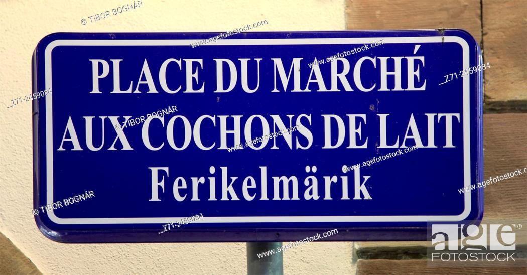 Imagen: France, Alsace, Strasbourg, street sign.