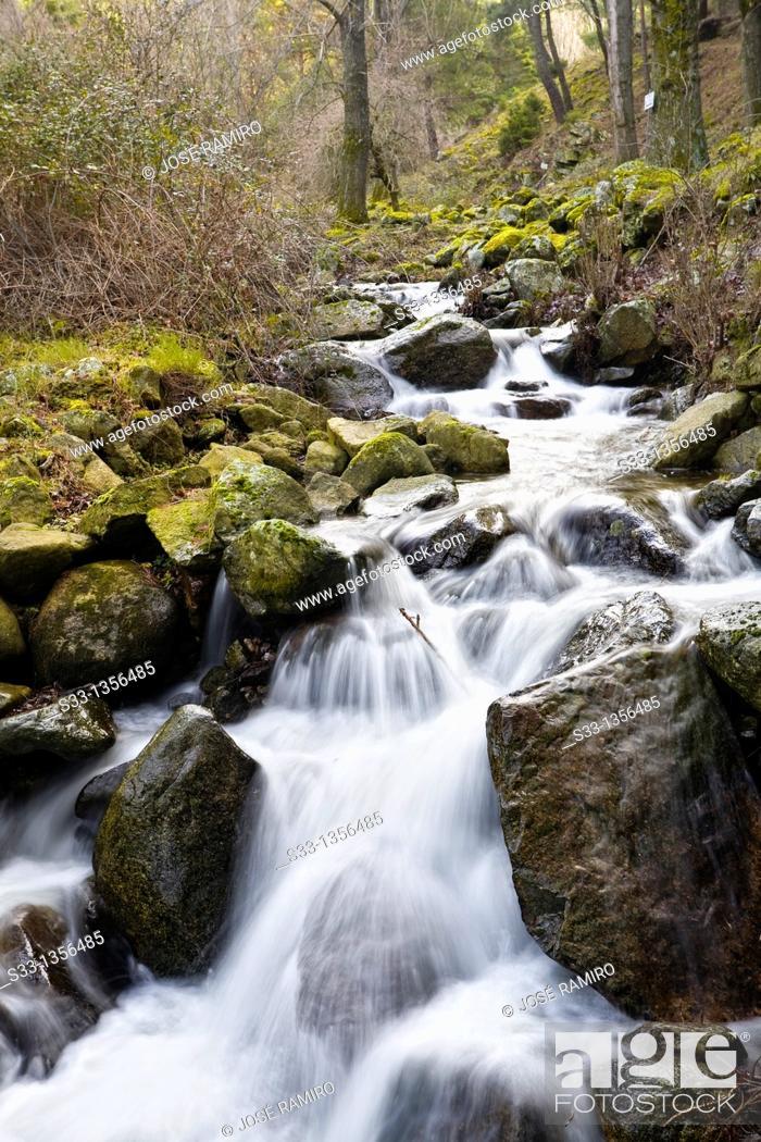 Stock Photo: Hornillo stream in Robledondo  Madrid  Spain.