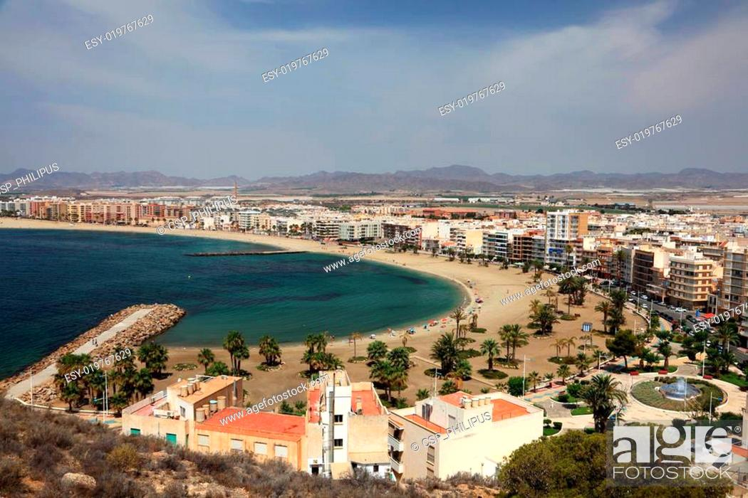 Stock Photo: Beautiful beaches in Mediterranean town Aguilas. Province of Murcia, Spain.