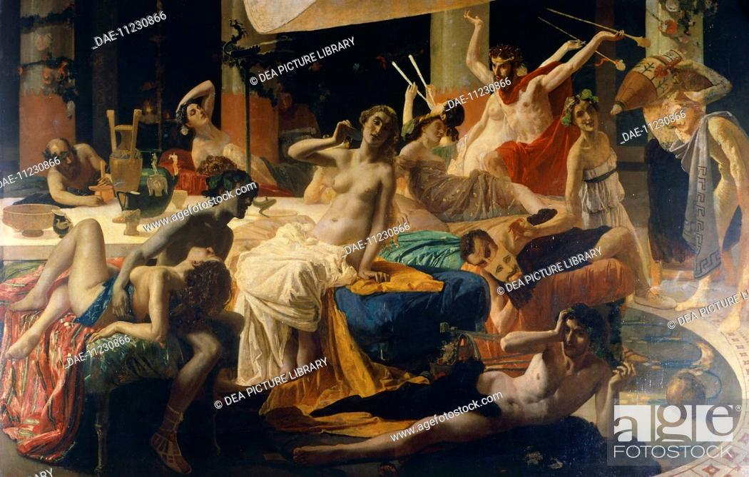 Stock Photo: The orgies of Messalina, 1867-1868, by Federico Faruffini (1831-1869).  Private Collection.