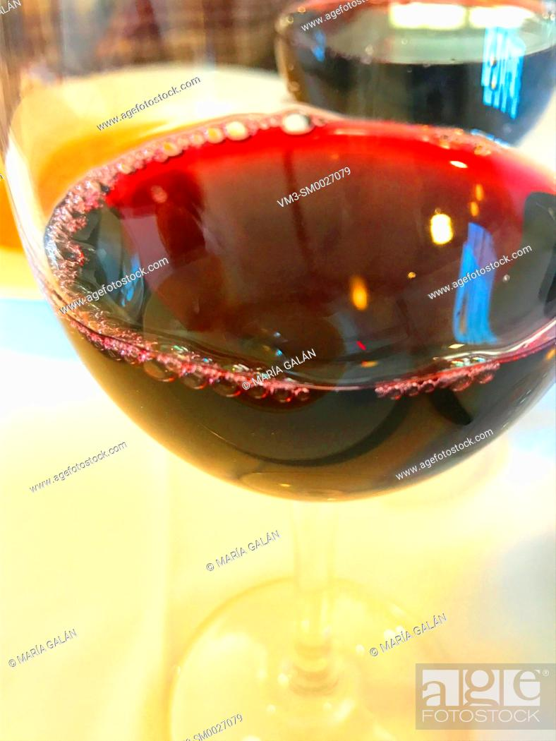 Stock Photo: Glass of red wine. Close view.