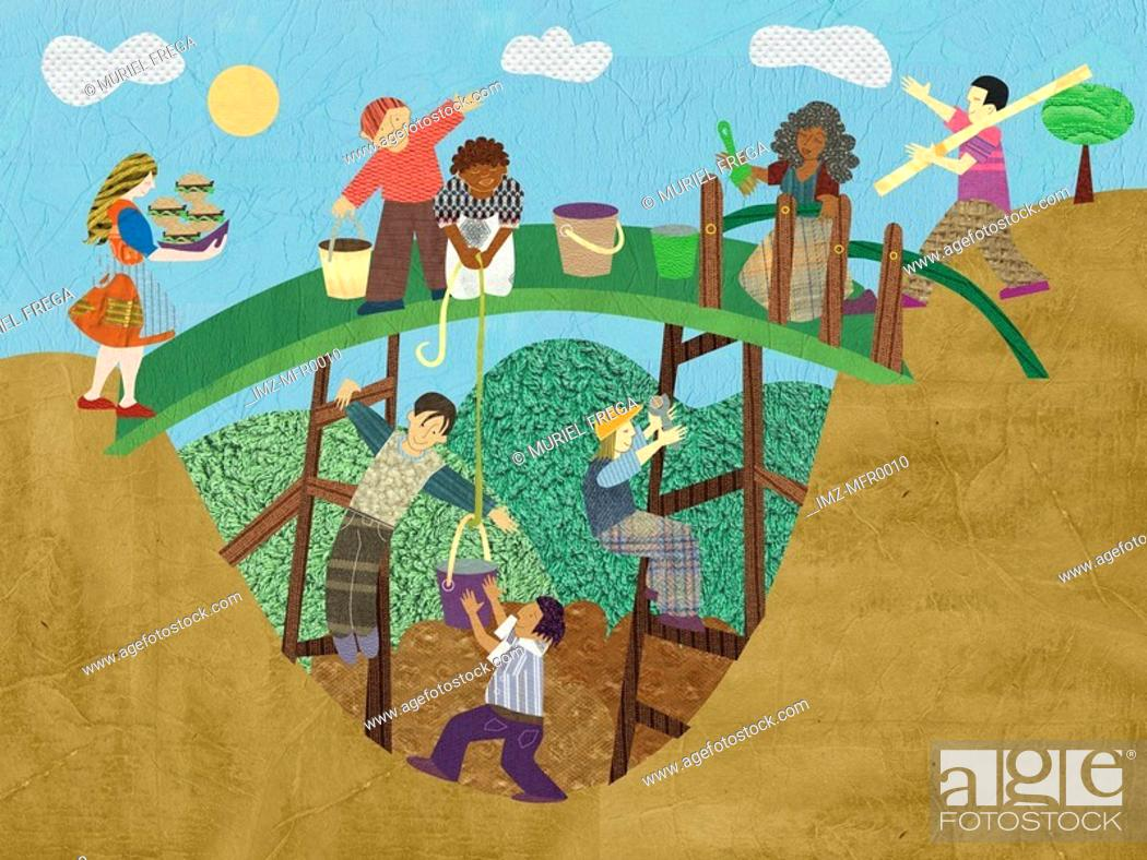 Stock Photo: An illustration of a group of people building a bridge.
