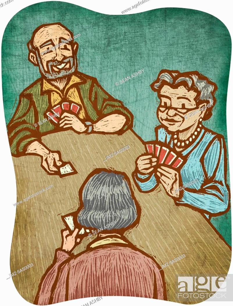 Stock Photo: Three senior citizens playing cards.