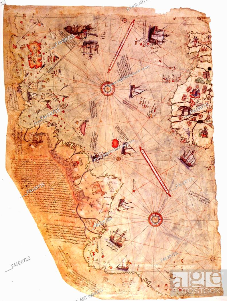 Stock Photo: The Piri Reis world map by Piri Reis (1470-1553)/Watercolour on parchment/Cartography/1513/Turkey/Topkap&#305 Palace, Istanbul/History/Graphic arts/Die Karte.