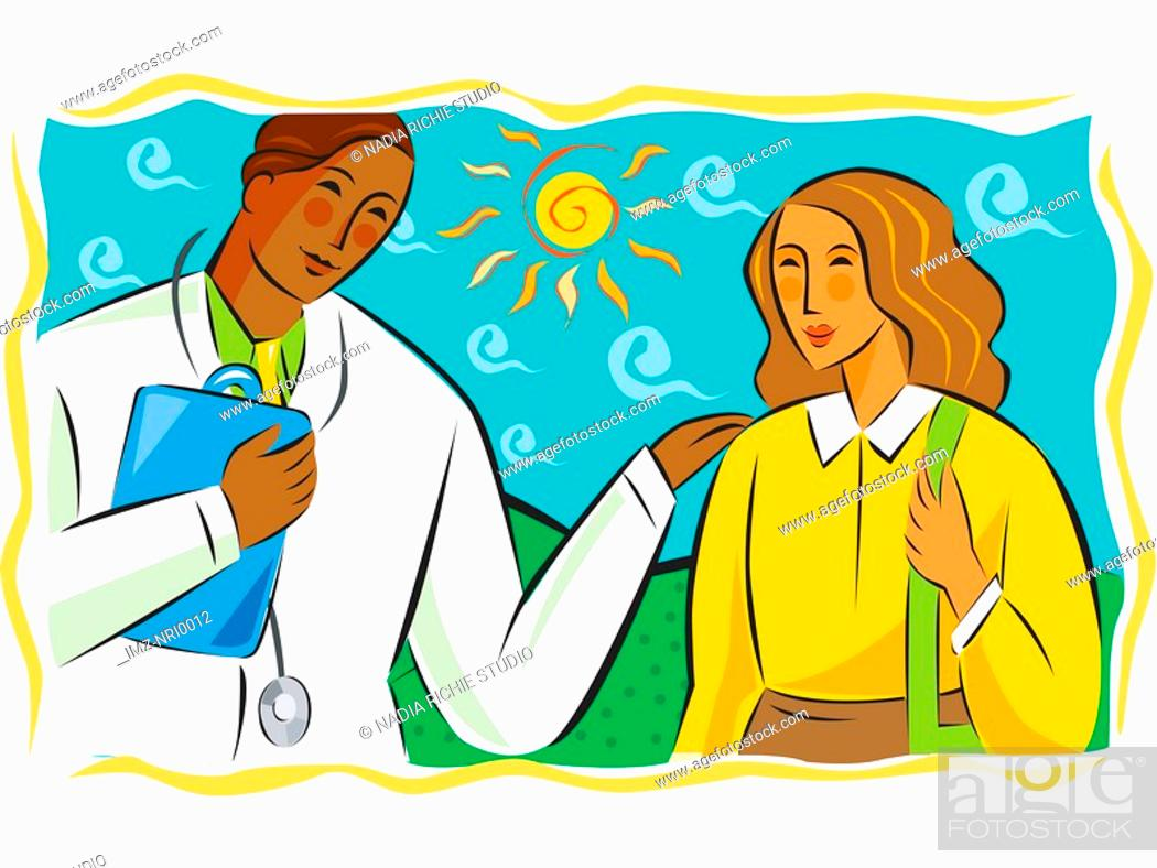 Stock Photo: Male doctor talking to a female patient.