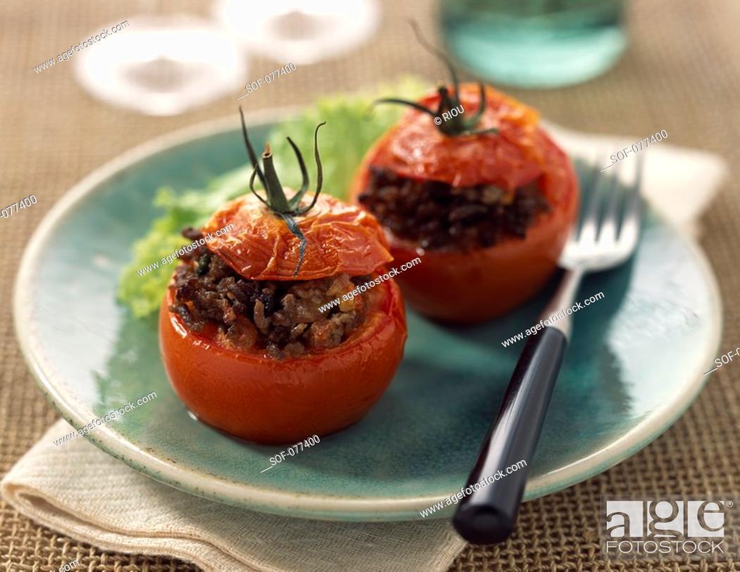 Stock Photo: Stuffed tomatoes.