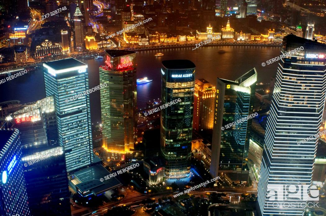 Stock Photo: Views from the World Finance Tower, Shanghai, ChinaCityscape, view of Huangpu River, The Bund, Puxi, and financial city, Shanghai, China.