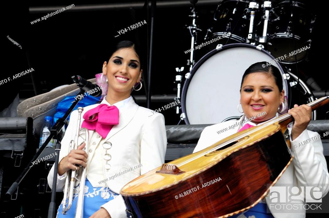 Stock Photo: Mariachis performing in Nueva de Llanes, Asturias, Spain.