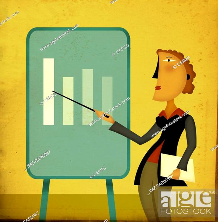 Stock Photo: A businesswoman pointing to a chart.