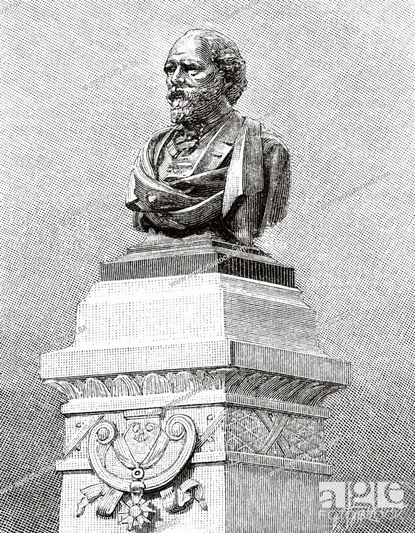 Stock Photo: Louis Alphonse Poitevin (1819-1882) was a French researcher and photographer of the nineteenth century. Monument dedicated to Poitevin on September 7.