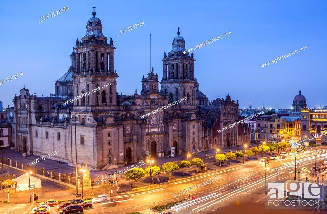Stock Photo: The Metropolitan Cathedral, in Plaza de la Constitución, El Zocalo, Zocalo Square, Mexico City, Mexico.